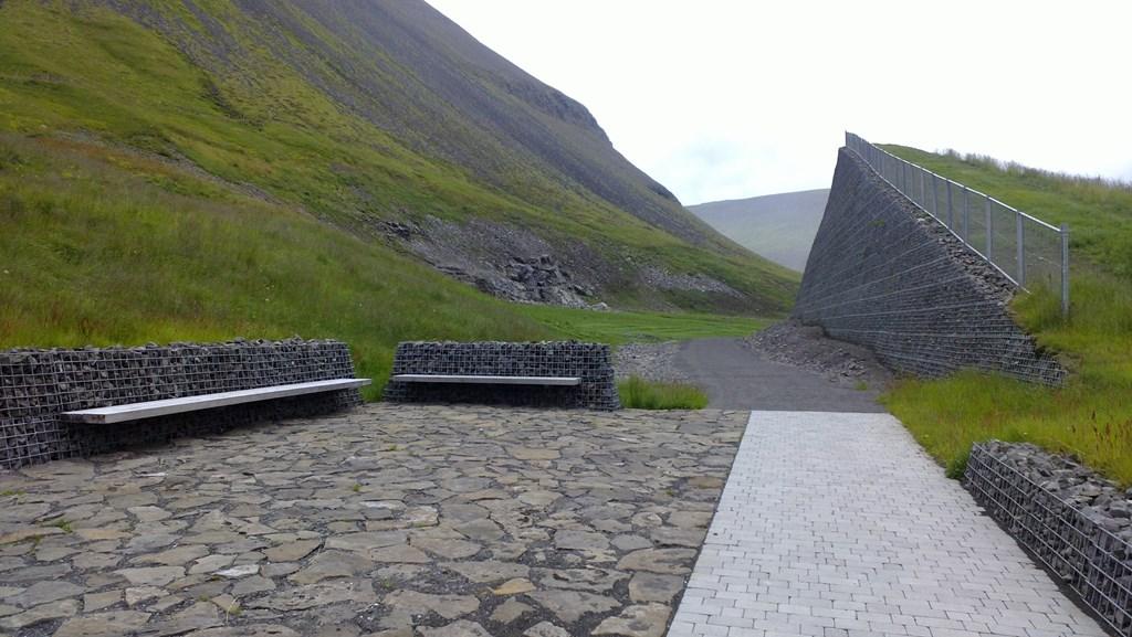 Áningartstaður við enda garðs